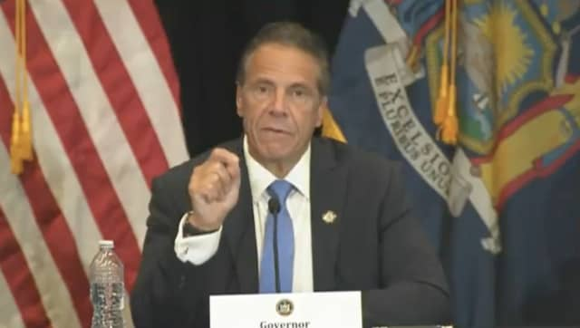 New York Gov. Andrew Cuomo at a briefing on Monday, July 26.