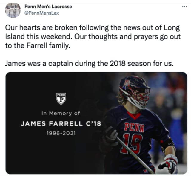 James Farrell, age 25, former lacrosse captain at both Manhasset High School and the University of Pennsylvania, was among the five victims of the Hamptons head-on crash, along with his 20-year-old brother Michael.