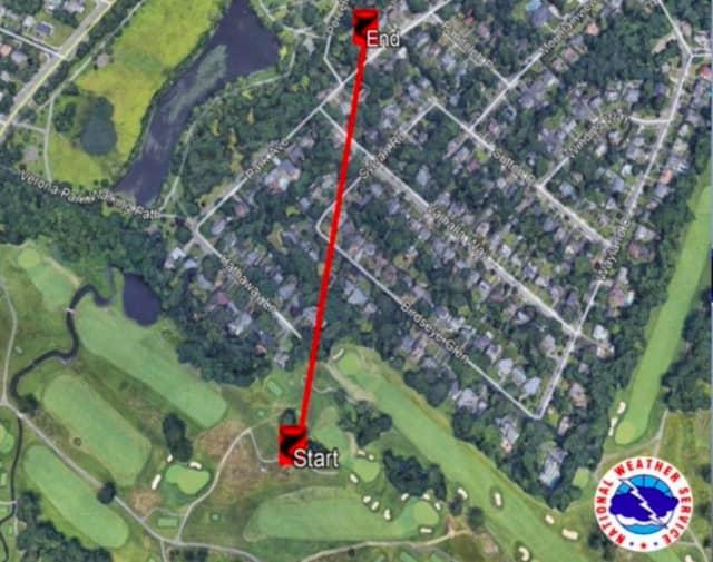 Tornado's path in Essex County.