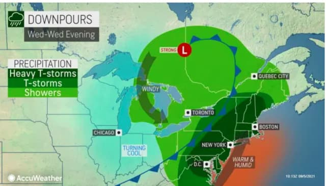 Showers and thunderstorms, some of which will be heavy, will sweep through the region on Wednesday, Sept. 8.