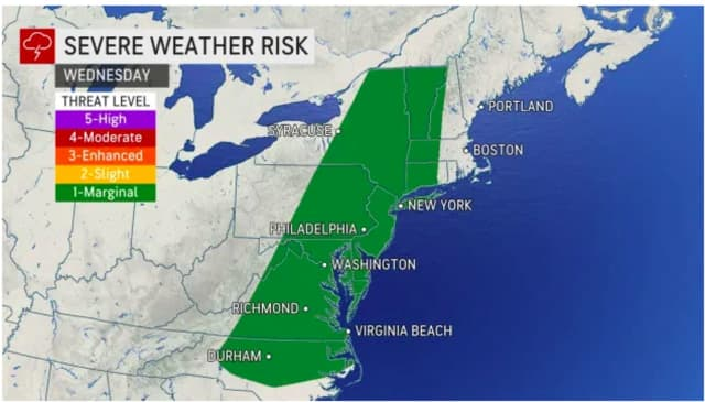 A look at areas at risk for severe weather Wednesday, Sept. 8 into Thursday, Sept. 9.