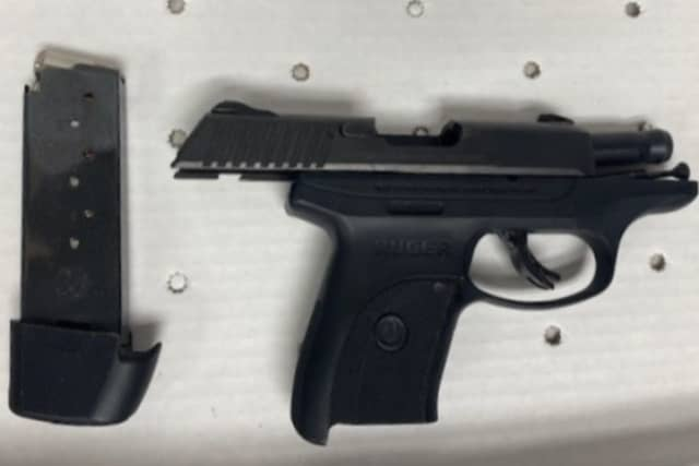The gun that was seized by police in New Rochelle.