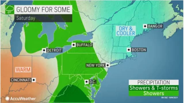 The unsettled weather pattern arrived on Saturday, Oct. 9.