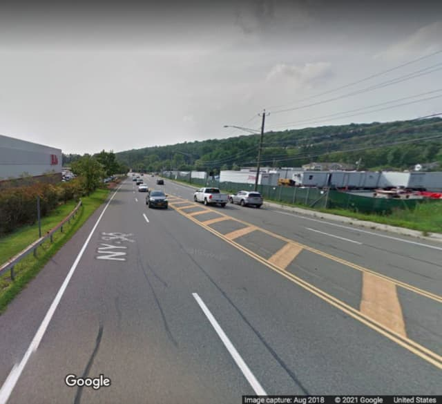 The area where the crash happened on Route 202 (Crompond Road) in Yorktown Heights.
