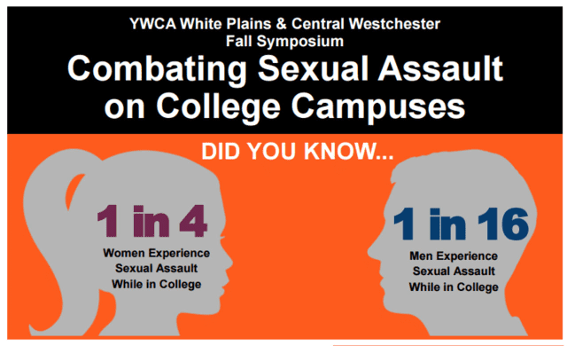 The YWCA on North Street in White Plains will host a fall symposium called Combating Sexual Assault on College Campuses.