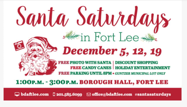 The Business District Alliance of Fort Lee will be hosting free Santa Claus events from 1-3 p.m. on Dec. 12 and Dec. 19.