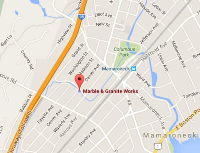 A fire on Friday damaged Marble & Granite Works on Central Avenue in Mamaroneck.