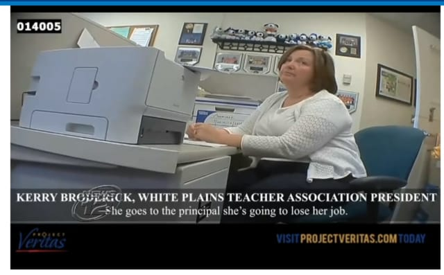 White Plains Teachers Association President Caireen Broderick as seen on a video released by Project Veritas.