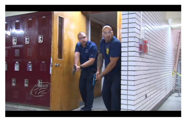 Mount Vernon police held an active-shooter drill at Mount Vernon High School on Friday.