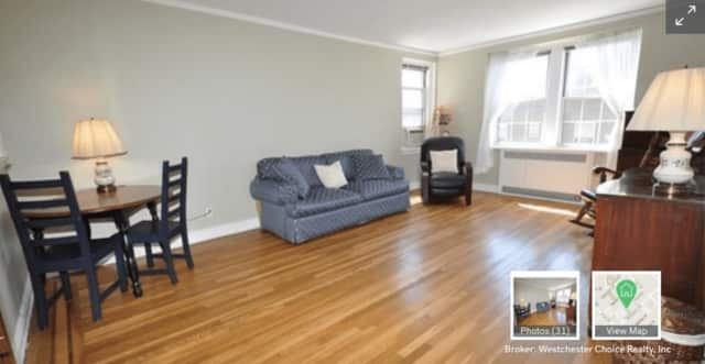 Unit 5E, a 650-square-foot studio at 253 Garth Road, Scarsdale, is on the market for $115,000.