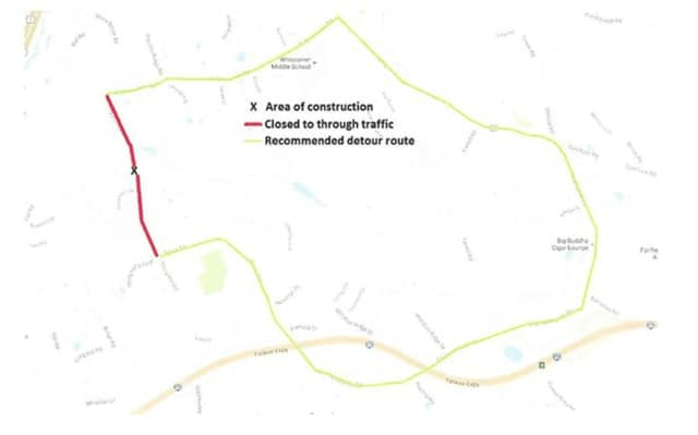 Brookfield police are urging drivers who must travel near Stony Hill Road on Saturday to use a detour to accommodate a temporary road closure.