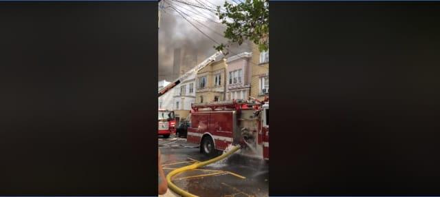 33785b16d05 A fire in Guttenberg Monday left a woman seriously injured