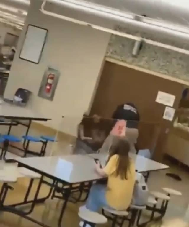 A screenshot from a video taken during the fight.