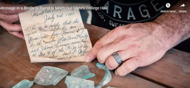 A note written 112 years ago by two laborers was discovered during renovations at the Montclair State University campus