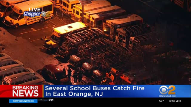 A fire at a school bus depot destroyed several vehicles early Tuesday