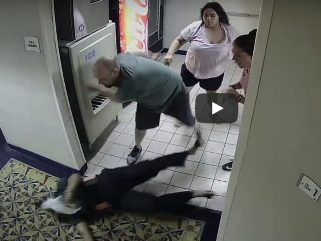 This surveillance video still shows the attack on 59-year-old Crystal Caldwell of Groton.