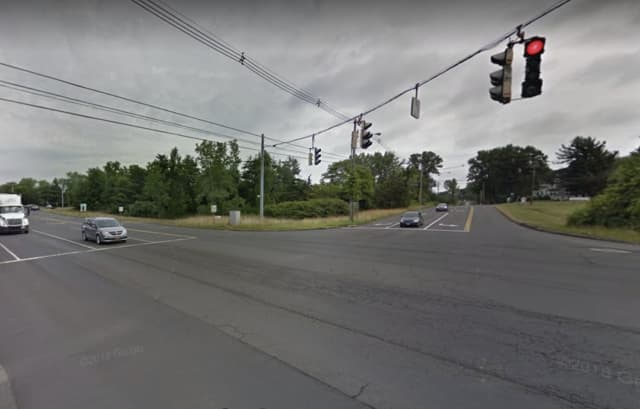 A Meridien woman was killed in a head-on crash in Wallingford. The photo shows the intersection where the crash happened.