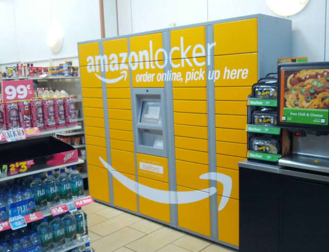 """Large, brightly-colored """"lockers"""" that open with digital-access codes are popping up around apartment buildings, as well as grocery and convenience stores in Connecticut."""