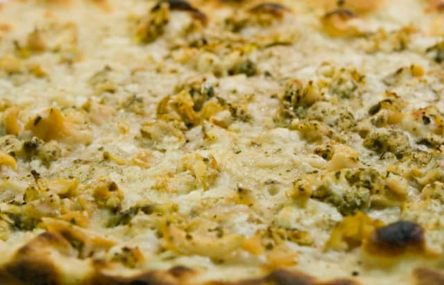 The famous New Haven white, clam pizza from Pepe's
