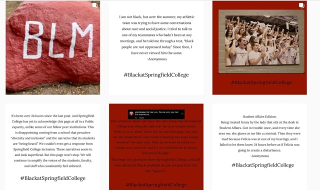 BlackAtSpringfieldCollege is a new Instagram account hosting anonymous student recollections of racism.