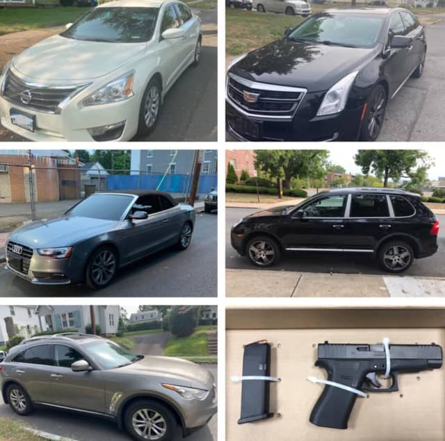 The most recent batch of stolen cars, and one stolen gun, recovered by Hartford Police.