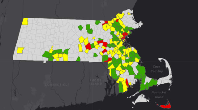The newest COVID-19 risk map by the MA Department of Public Health, Thursday, Sept. 24.