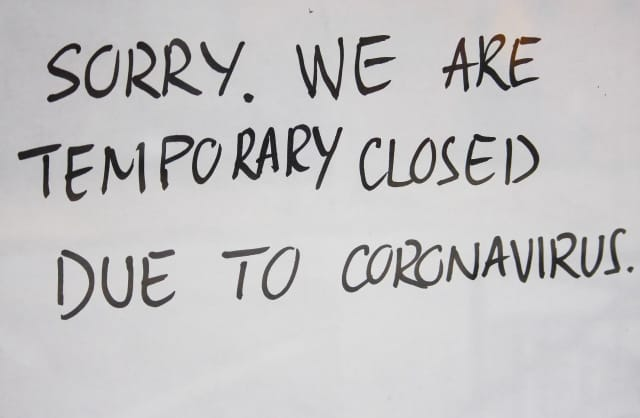 Closed sign during COVID-19 pandemic