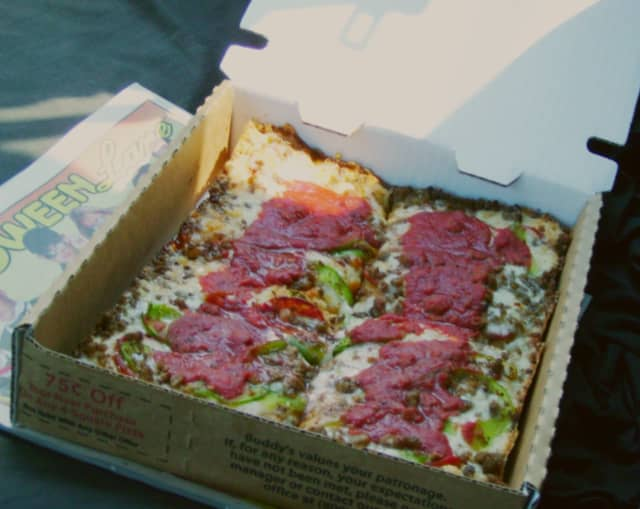 In this photo illustration is an example of Detroit-style pizza. This is not a picture of the actual pizza served at Olo.