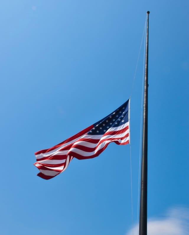 U.S. flag at half-mast