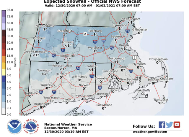 Expected snowfall for Wednesday, Dec. 30 - National Weather Service