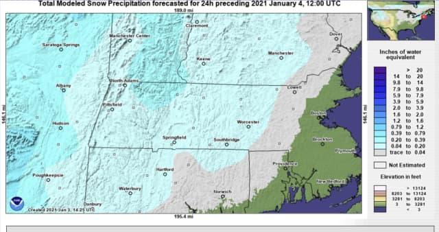 Snowfall totals for Monday, Jan. 4