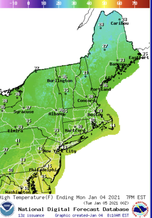 Forecast temperatures for Monday, Jan. 4