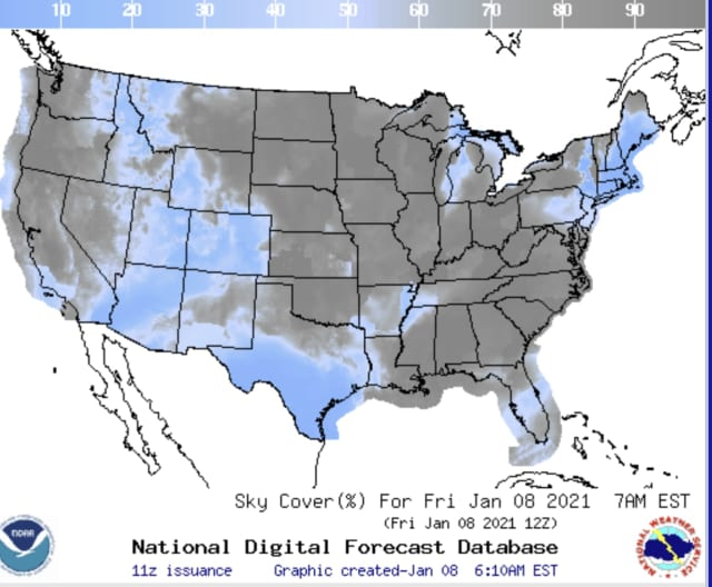 Cloud coverage map for Jan. 8 by the National Weather Service
