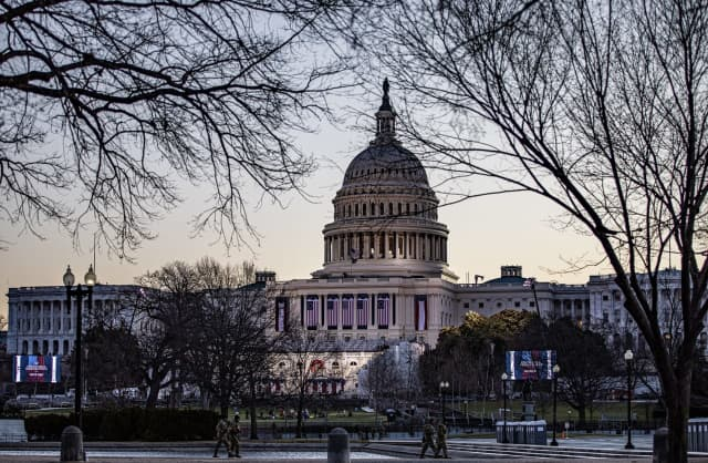 U.S. Capitol Building in preparation for the presidential inauguration in 2021