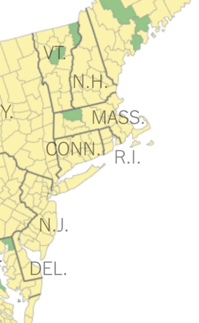 COVID-19 NYT map on where schools meet the CDC guidelines to reopen full in-person school