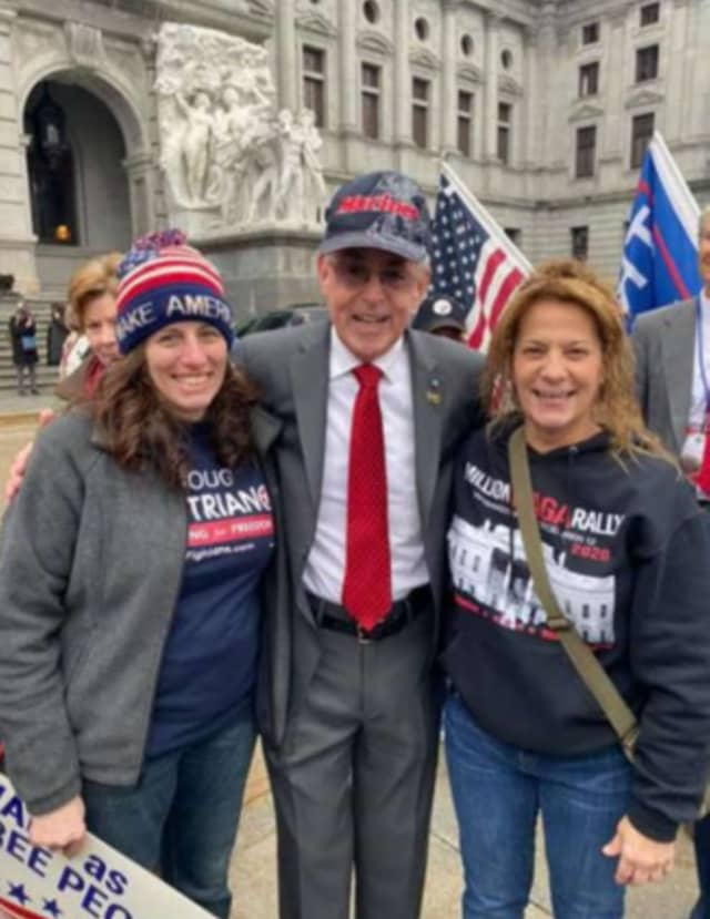Capitol Rioters, left to right: Pauline Bauer, unidentified man, Sandy Pomeroy Weyer.