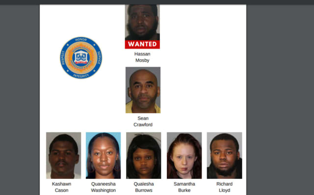 Pictured are seven people -- including one man still at large -- charged in a sweep targeting Jersey City gang activity.