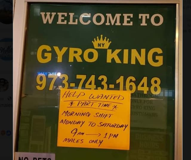 A help wanted sign has since been taken down, the owner of a Bloomfield business said.