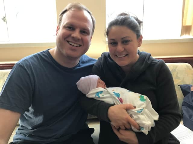 Sean and Jacqueline Mulcahy of Larchmont welcome their first child, Graham William, one of seven babies born on Valentine's Day at Greenwich Hospital.