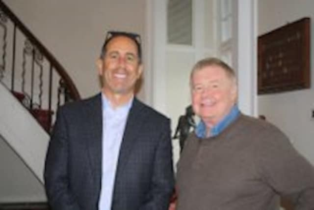 William Guyre, right, of Wainwright House in Rye, with Jerry Seinfeld..