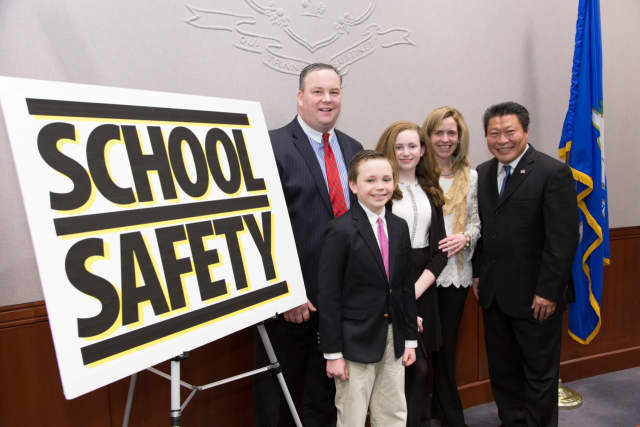Sen. Tony Hwang (right) was joined by the Reidy family of Newtown on Feb. 26 at the State Capitol to raise awareness about the need for safe schools legislation in Connecticut. Safe Schools legislation has been approved by the state legislature.