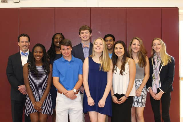 Back row: Head of School Matt Byrnes, Venus Okwuka '17, Kern Byrnes '17, Bently Jos '17, Marie Klepacz '17 and Trixie Betz '17. Front row: Brianna Clarke-Ellis '17, Jacob Engelbrecht '17, Tess Cicala '17 and Josie Morales-Thomason '17