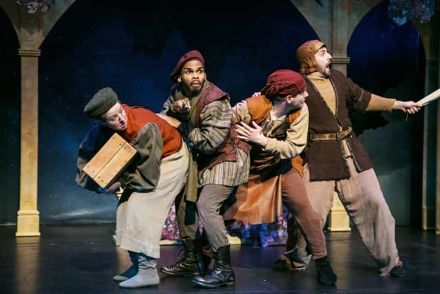 "Members of the Shakespeare Theatre of New Jersey's traveling ensemble will perform ""Twelfth Night"" in Demarest on July 21"