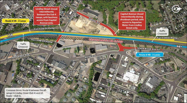 Phase 2 of the Route 8 construction project begins Friday and includes road closures and lane shifts.