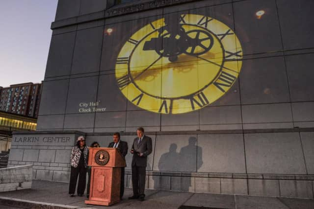 Art and music are projected on the side of a building at the waterfront in Yonkers where Mayor Mike Spano launched the urban sound and light display called Experience Yonkers on Wednesday.