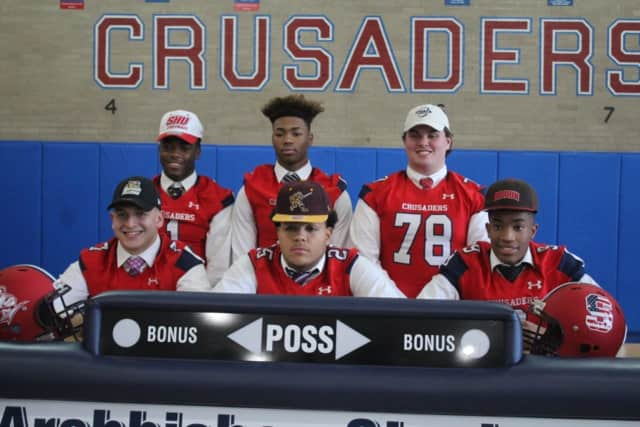 Six Archbishop Stepinac football players have signed their intent to play in college. They are from Mahopac, Yonkers, New Rochelle and Greenburgh.