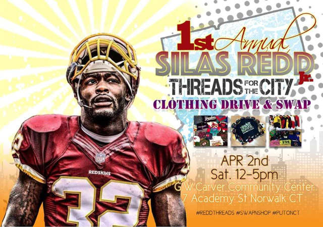 Washington Redskins running back Silas Redd will host his inaugural Threads for the City clothing drive and swap at the George Washington Carver Community Center In Norwalk on Saturday from noon-5 p.m.