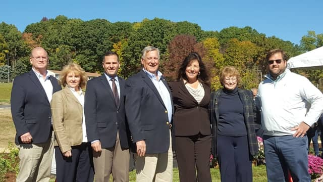 Elected officials gathered to open Artisan's Park Overlook in Amenia. The park is part of the Silo Ridge project and will be open to the public dawn to dusk weather permitting year-round.