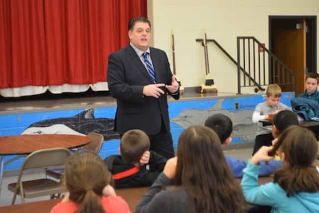 state Rep. David Rutigliano with the students