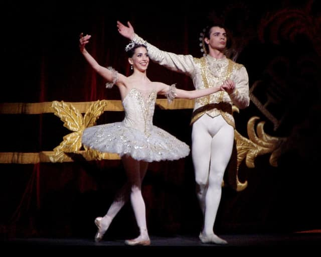 "Moscow Ballet's Alexandra Ansanelli as Princess Aurora and David Makhateli as Prince Florimund in a Royal Ballet production of ""Sleeping Beauty."""